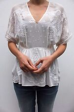 Karen Millen White Embroidered Floral Lace Silk Kaftan Blouse Dress Top 6 - 12