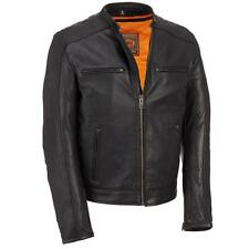 Wilsons Leather Mens Performance Leather Motorcycle Jacket W/ Scuba Collar