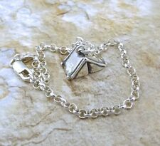 Sterling Silver 3D Pup Tent Charm on  Sterling Silver  Rolo Bracelet - 1347