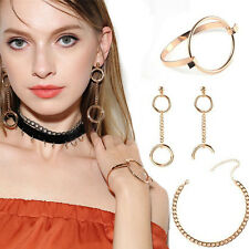 Fashion Velvet Choker Necklace Geometric Dangle Earring Bracelet Jewelry Set
