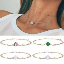 Multilayer Natural Glass Mosaic Opal Pendant Choker Necklace Clavicle Chain Gift