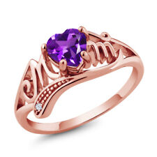 0.66 Ct Heart Shape Purple Amethyst White Topaz 18K Rose Gold Plated Silver Ring