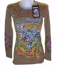New Women's Ed Hardy Long Sleeve Specialty T Shirt Stretch Flaming Tiger S XS