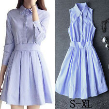 2017 Womens Summer Beach Dress Blue&Wtite Stripe Simple Comfy Casual Shirt Dress