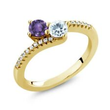 0.70 Ct Amethyst Aquamarine Two Stone 18K Yellow Gold Plated Silver Ring