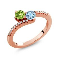0.87 Ct Green Peridot Sky Blue Topaz Two Stone 18K Rose Gold Plated Silver Ring