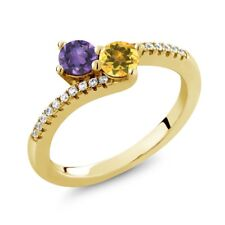 0.74 Ct Amethyst Yellow Citrine Two Stone 18K Yellow Gold Plated Silver Ring