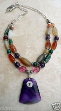 Artisan Natural Agate Amethyst Malachite Multi Color SSP Necklace Earring Set