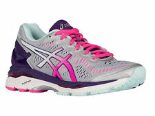 NEW WOMENS ASICS GEL-KAYANO 23 RUNNING SHOES TRAINERS SILVER / PINK GLOW D WIDE