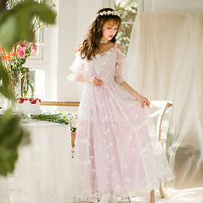 Elegant Lady Princess Sweet Lolita Lace Embroidered Long Dress Summer Girl