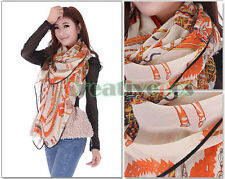 Fashion Chiffon Kerchief Cute Clown Carriage Print Colorful Scarf Shawl Wrap New