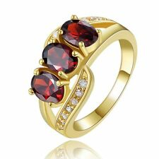 Amazing Jewelry Red Garnet Womens 18K Gold Filled Engagement Rings Size 6,7,8,9