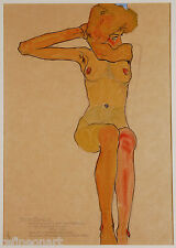 Seated Female Nude with Raised Arm by Egon Schiele Giclee Canvas Print