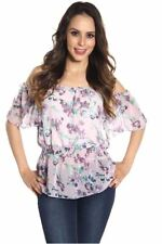 121AVENUE Fabulous Chiffon Open Shoulder Top S M Small Medium Women Purple