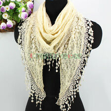 Fashion Women Lace Tassel Knitted Solid Triangle Scarf Wrap Shawl Ladies Scarves