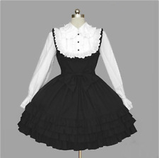 Womens Sweet Black White Gothic Lace Ties Cosplay Lolita Dress Outfit Costume Yh