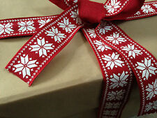 NORDIC SNOWFLAKES style 38mm - Textured Heavier weight Luxury Wire Edged Ribbon