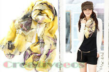 Vintage Women's Begonia Flower Ink Style Neck Scarf Classical Shawl Long Wrap