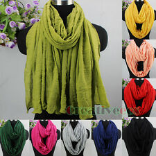 Fashion Women Solid Color Wrinkle Loop Infinity Shawl Cowl Circle Comfy Scarf