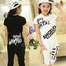 2017 New High Quality Kids Boys Girls Letter T-Shirt Pants Sports Two-Piece Sets