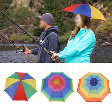 Foldable Sun Rain Umbrella Hat Golf Fishing Camping Headwear Cap Head Hats EB