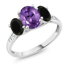 10K White Gold 1.78 Ct Oval Purple Amethyst Black Onyx 3-Stone Ring