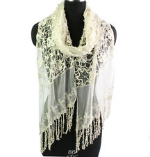 Women Embroidery Lace Floral Tassel Ladies Solid Color Long Scarf Wrap Shawl