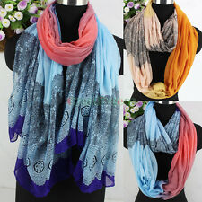 Fashion Women Colorful Floral Lace Soft Long Scarf Shawl/Infinity Cowl Scarf New