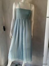 HALLHUBER Dress/Skirt Silk aqua gesmockt Size 38 NEW