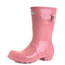 Womens Hunter Short Gloss Pink Wellington Wellies Boots UK Size