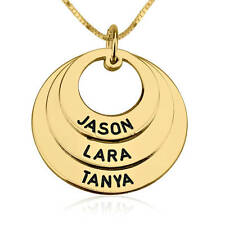 MOTHER / GRANDMOTHER Necklace with 3 Custom Names Engraved 24K Gold Plated Rings