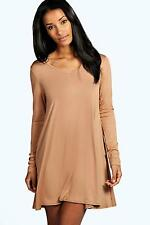 Boohoo Womens May V Neck Long Sleev Swing Dress
