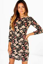 Boohoo Womens Kyra Floral Brushed Knit Bodycon Dress