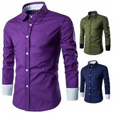 Fashion Mens Luxury Stylish Casual Dress Shirt Slim Fit T-Shirts Long Sleeve ⒈⒌⒏