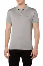 HUGO BOSS Men's Parsos Gray Short Sleeve Slim Fit Pique Golf Polo T Shirt New