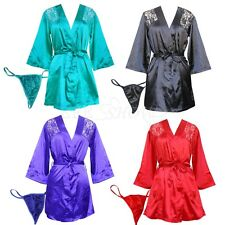 Sexy Women Satin Lace Robe Sleepwear Babydoll Dress Nightwear Lingerie G-String