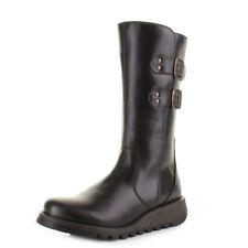 Womens Fly London Suli Black Leather Mid Calf Ladies Biker Buckle Boots Size