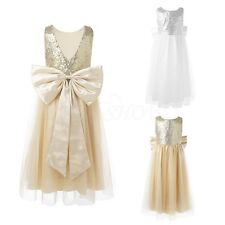 Girls Sequinned Dresses Kids Bow Party Gown Wedding Bridesmaid Flower Girl Dress