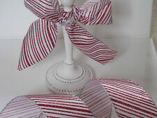 GLITTERY CANDY CANE Red & White Christmas Cake - Luxury Wire Edged Ribbon LOW!