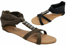 Ladies Shoes Inniu Gigi Beaded Zip Up Sandals Size 5-10 Black or Taupe Flats New