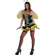 Ladies Yellow and Black Sexy Queen Bumble Bee Fancy Dress Up Party Costume New