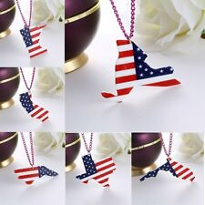 Fashion US State Map Resin Printing Pendant Necklace Chain Women Jewelry Gift