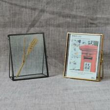 Antique Freestanding Brass Glass Picture Photo Frame Portrait