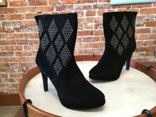 Steve Madden Black Suede Studded Fionah Ankle Boots NEW