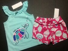 Gymboree Outlet Exclusive Tide Pool Turtley Glam Turtle Top Seashell Shorts NWT