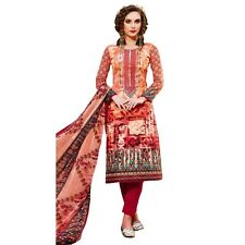 Readymade Cotton Printed Sober Embroidery Salwar Kameez Suit India-Belliza-44010