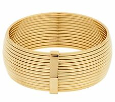 QVC Bold Polished Ribbed  Bangle Bracelet 14K Yellow Gold Clad Stainless Steel