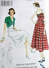 OOP VOGUE VINTAGE MODEL 1940's DRESS, BELT & BOLERO SEWING PATTERN V8812 SZ 6-22