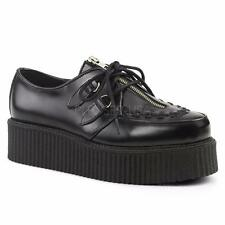 Demonia Creeper-440 goth gothic punk black leather shoes creepers men's 4-13