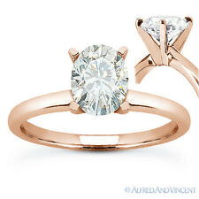 Forever ONE D-E-F Oval Cut Moissanite Solitaire Engagement Ring in 14k Rose Gold